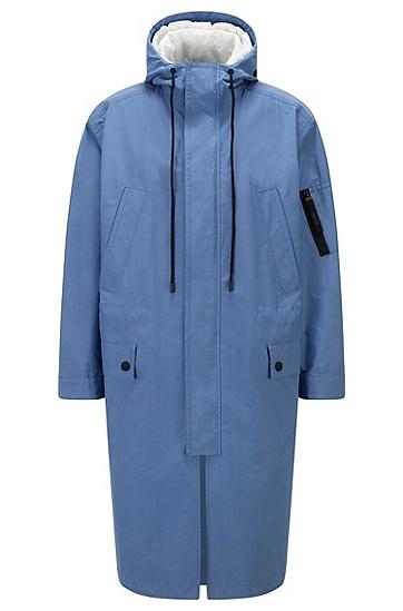 拉链开合内搭防水帆布外套,  489_Open Blue