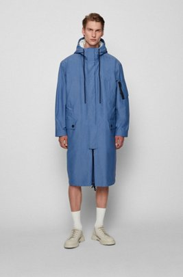 Water-repellent canvas coat with zip-through inner, Light Blue