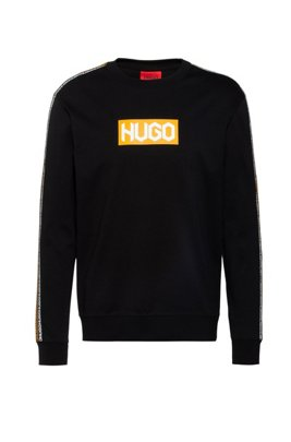 French-terry cotton sweatshirt with tyre-logo prints, Black