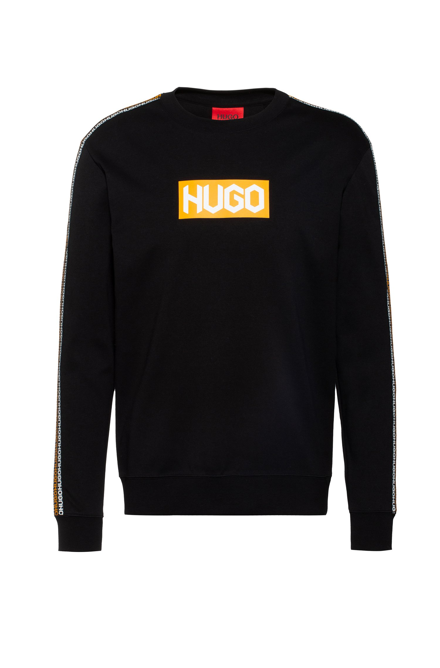 French-terry cotton sweatshirt with tyre-print logos, Black
