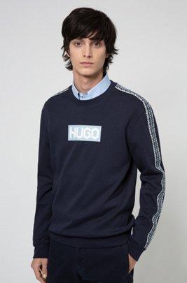 French-terry cotton sweatshirt with tyre-logo prints, Dark Blue