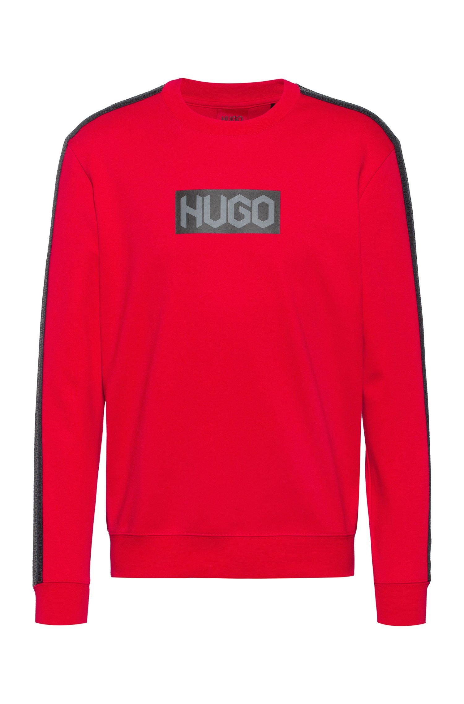 French-terry cotton sweatshirt with tyre-print logos, Red