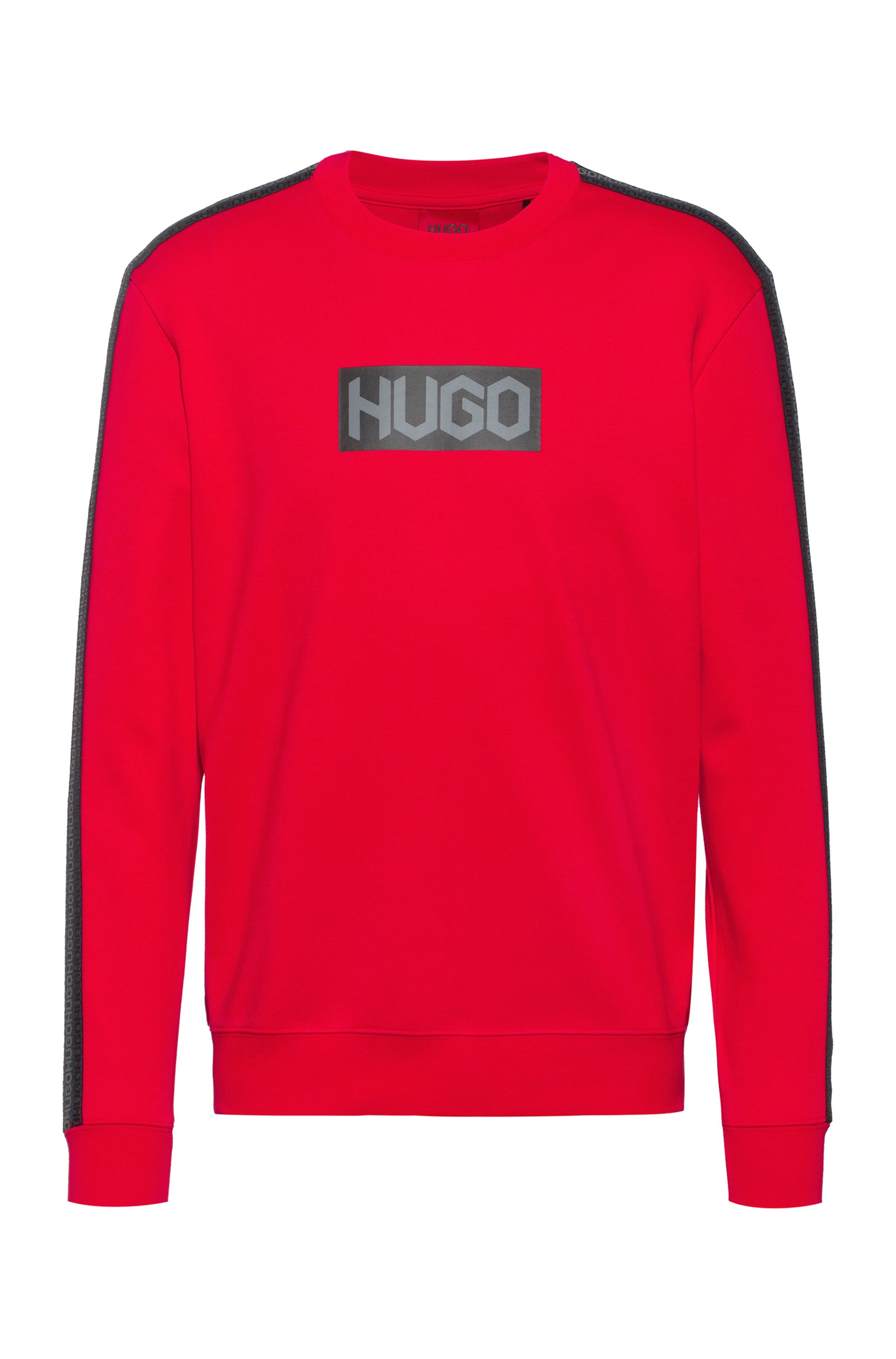 French-terry cotton sweatshirt with tyre-logo prints, Red