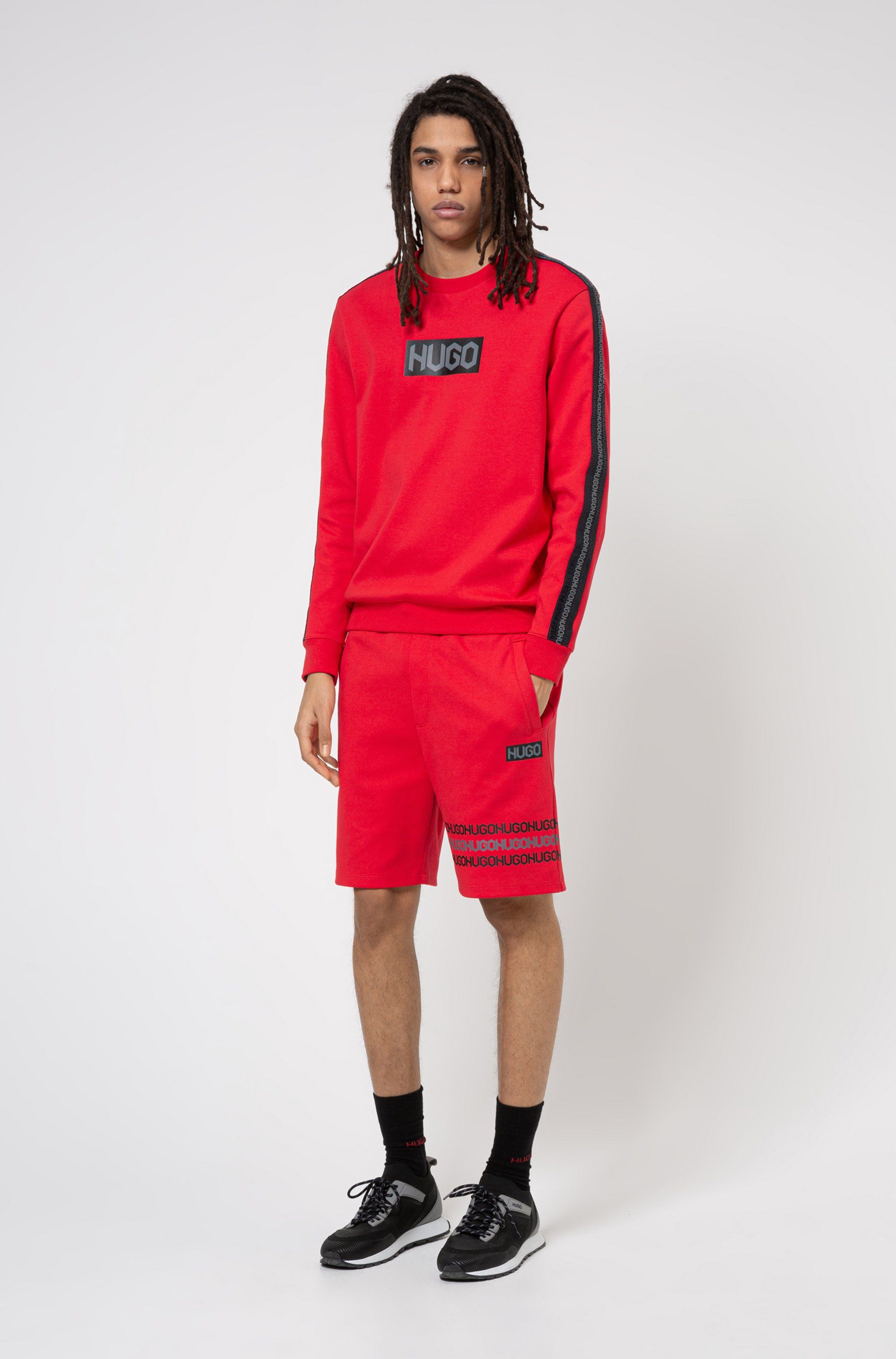 French-terry cotton sweatshirt with tyre-print logos