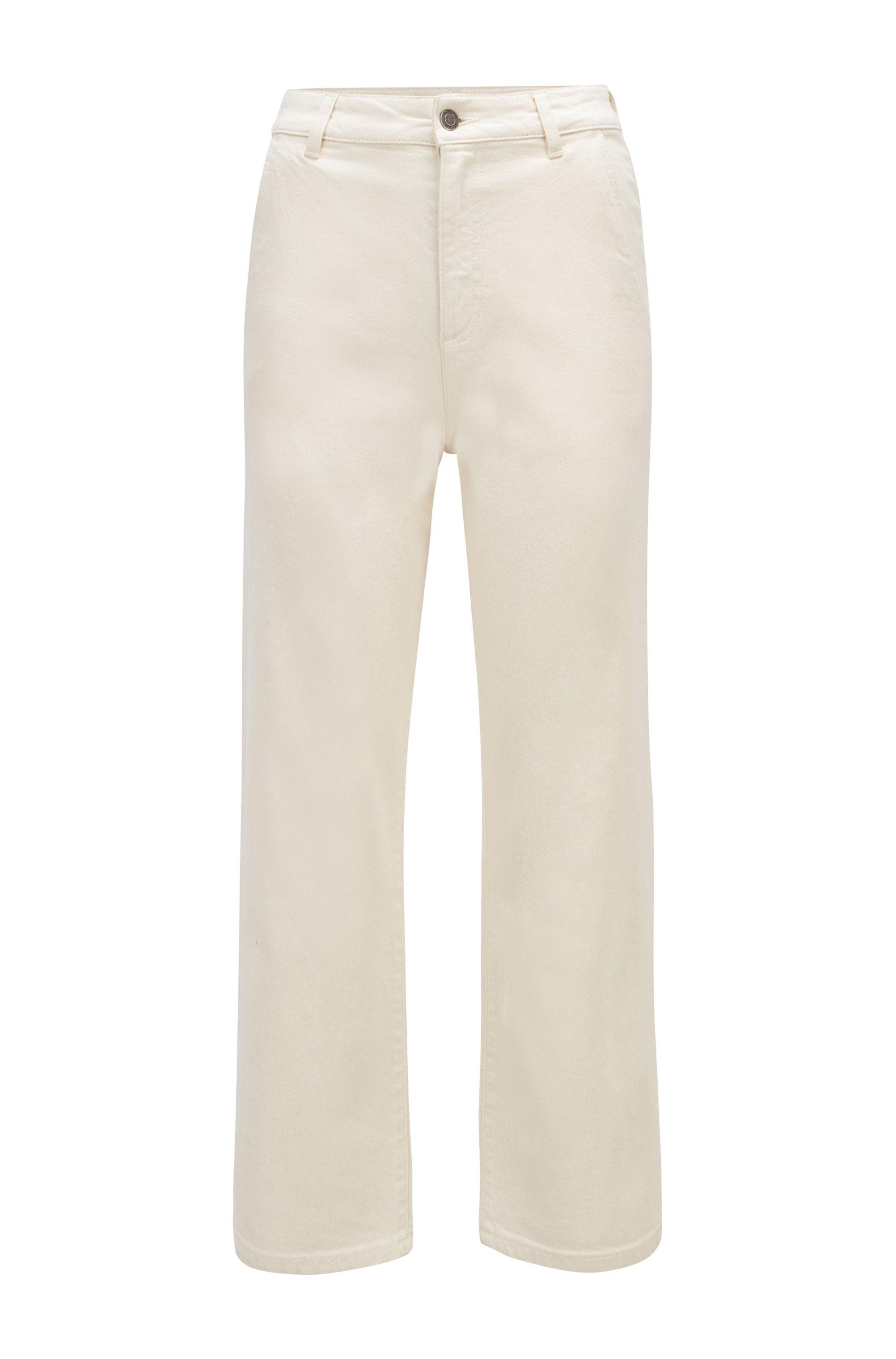 Komfortable Regular-Fit Jeans aus ecrufarbenem Stretch-Denim, Weiß