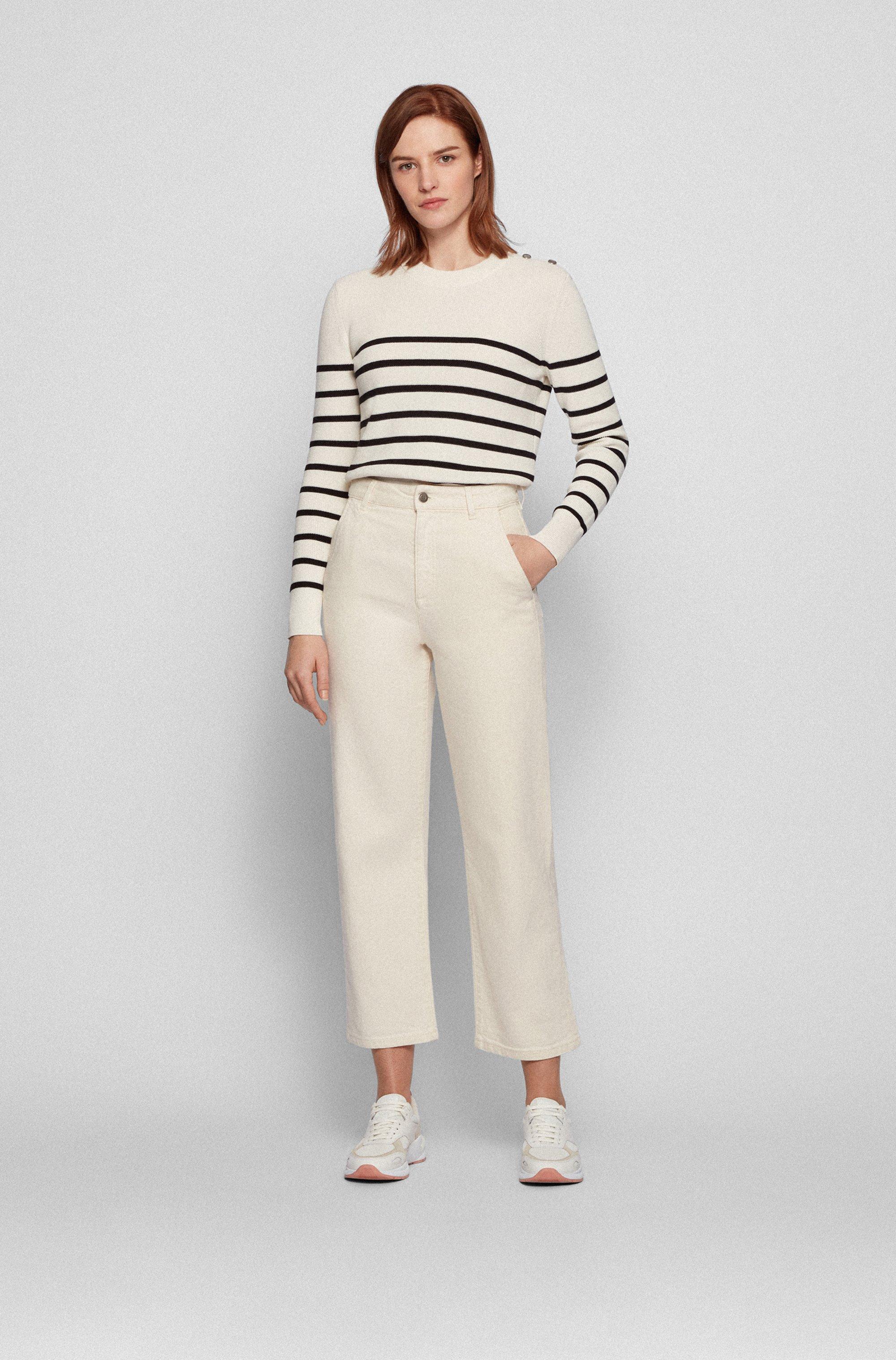 Regular-fit jeans in ecru comfort-stretch denim