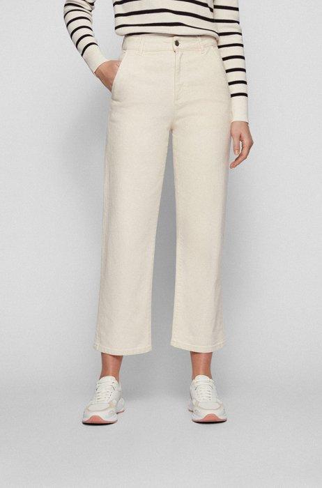 Regular-fit jeans in ecru comfort-stretch denim, White