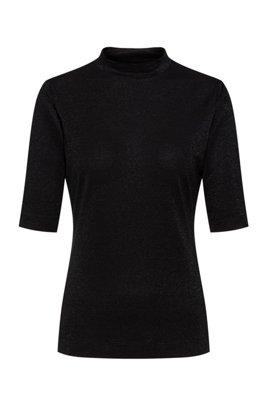 スタンドカラー Tシャツ グリッターエフェクト ストレッチジャージー, ブラック