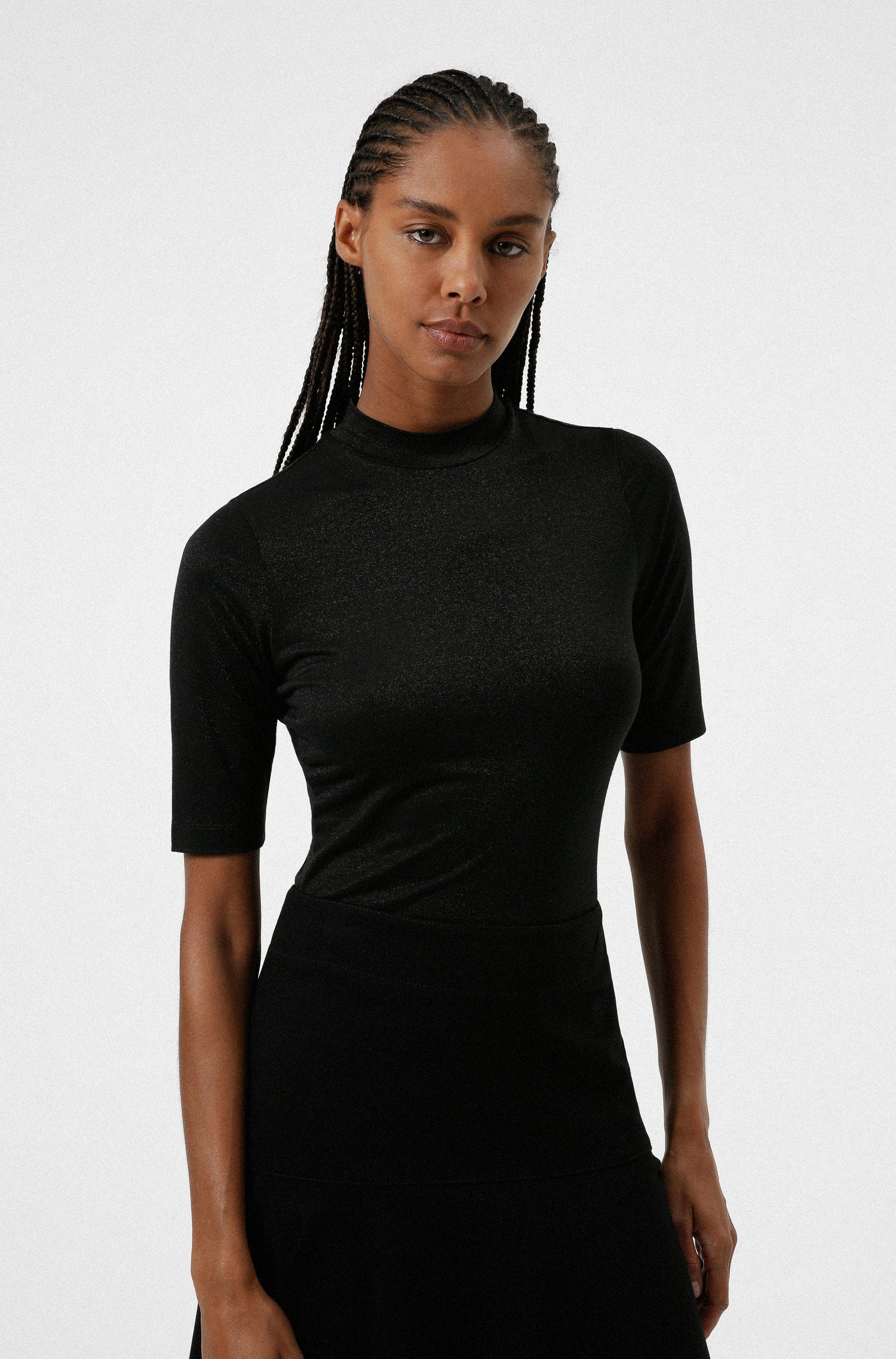 Stand-collar T-shirt in glitter-effect stretch jersey, Black
