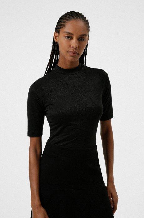 T-shirt en jersey stretch à col mao et effet brillant, Noir