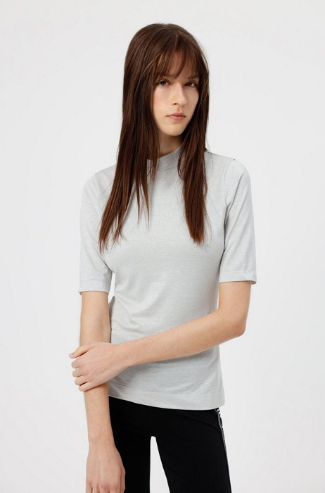 Stand-collar T-shirt in glitter-effect stretch jersey, White