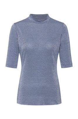 Stand-collar T-shirt in glitter-effect stretch jersey, Blue