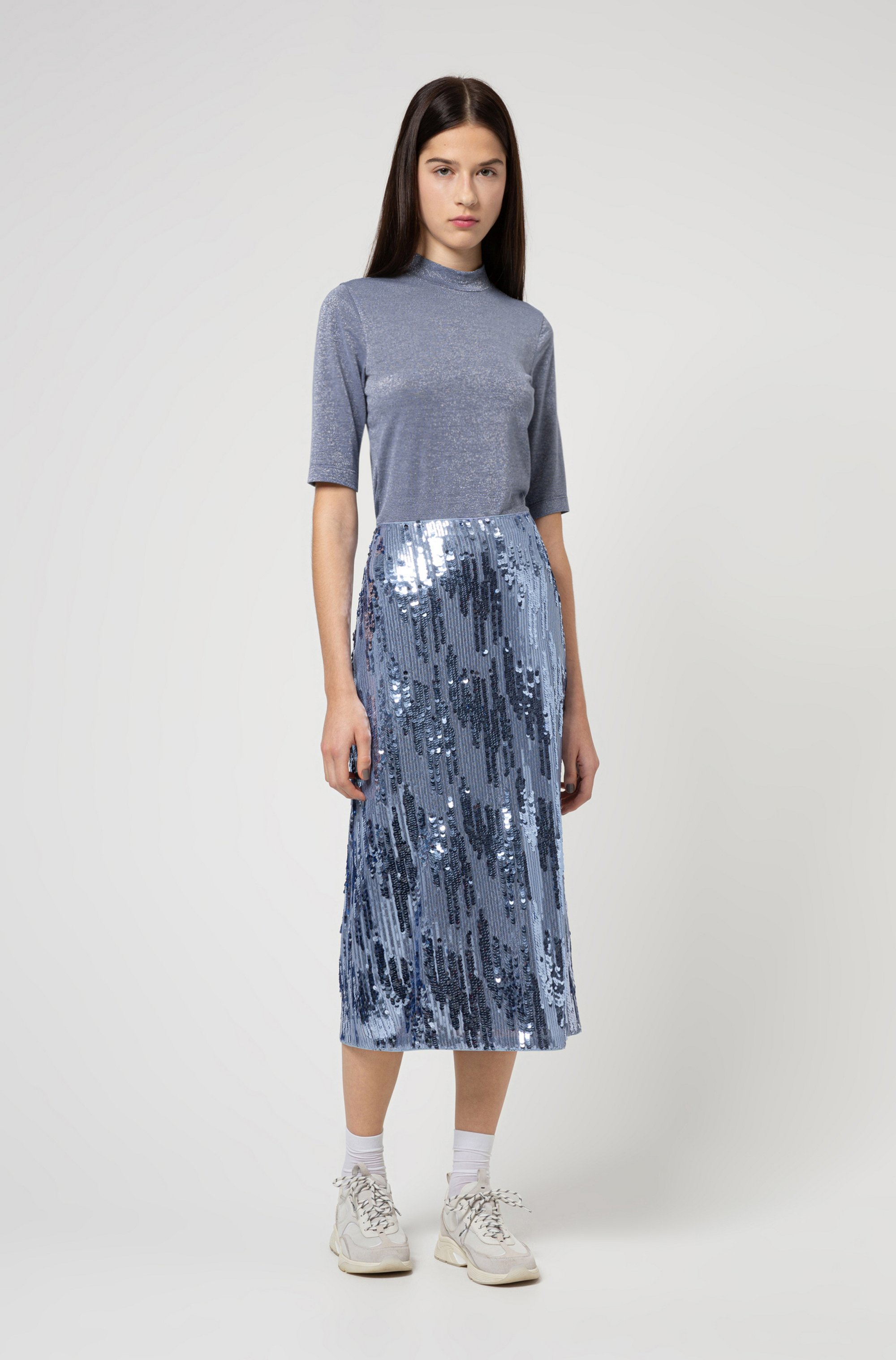 Stand-collar T-shirt in glitter-effect stretch jersey