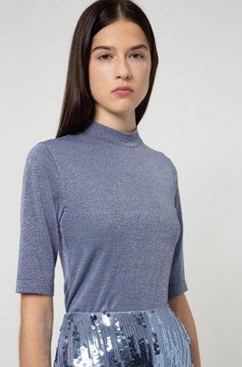 Stand-collar T-shirt in glitter-effect stretch jersey, Blue