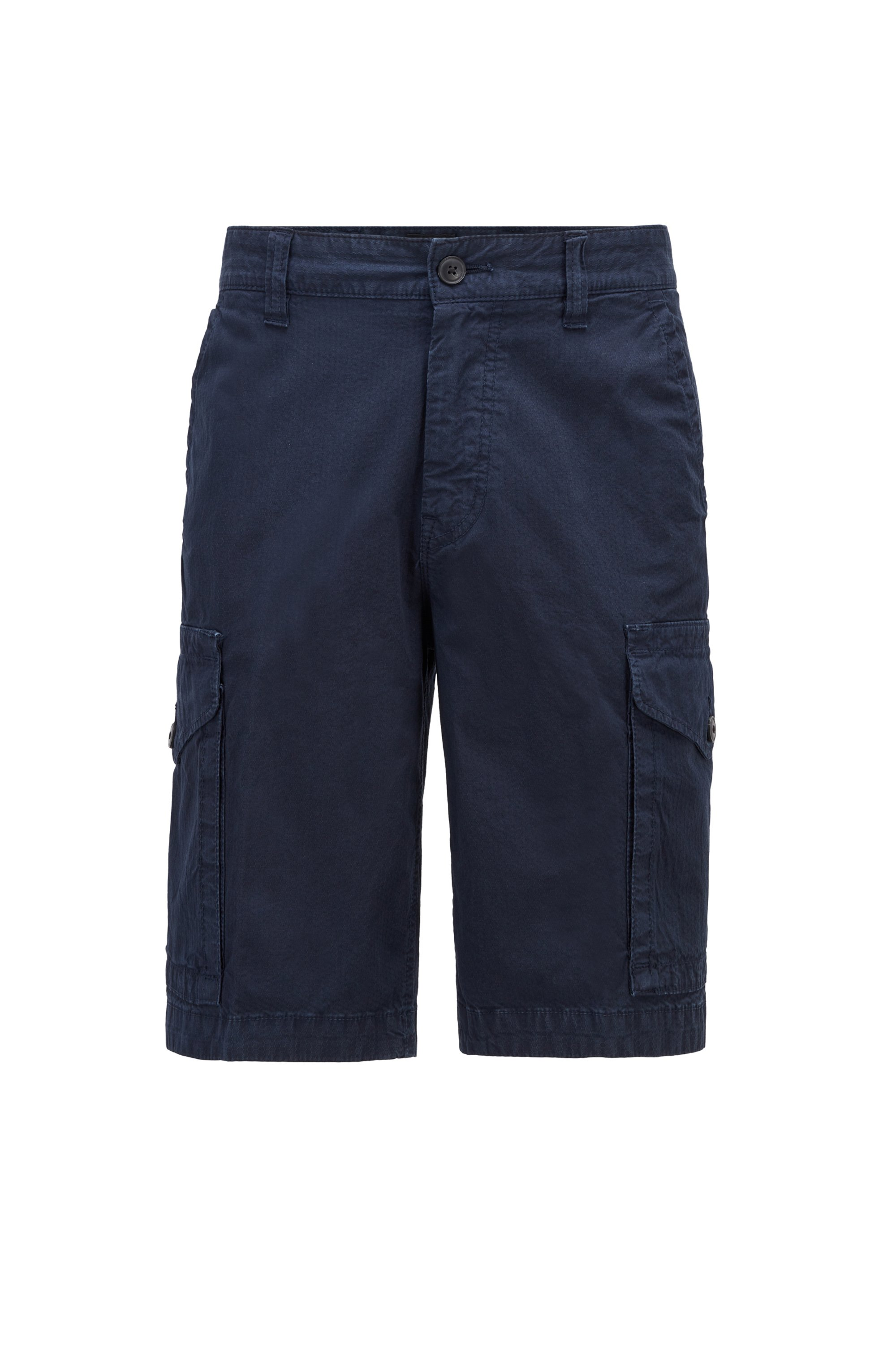 Tapered-fit cargo shorts in structured stretch cotton, Dark Blue