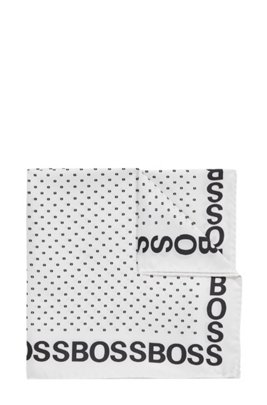 Printed pocket square in pure silk with logo border, White Patterned