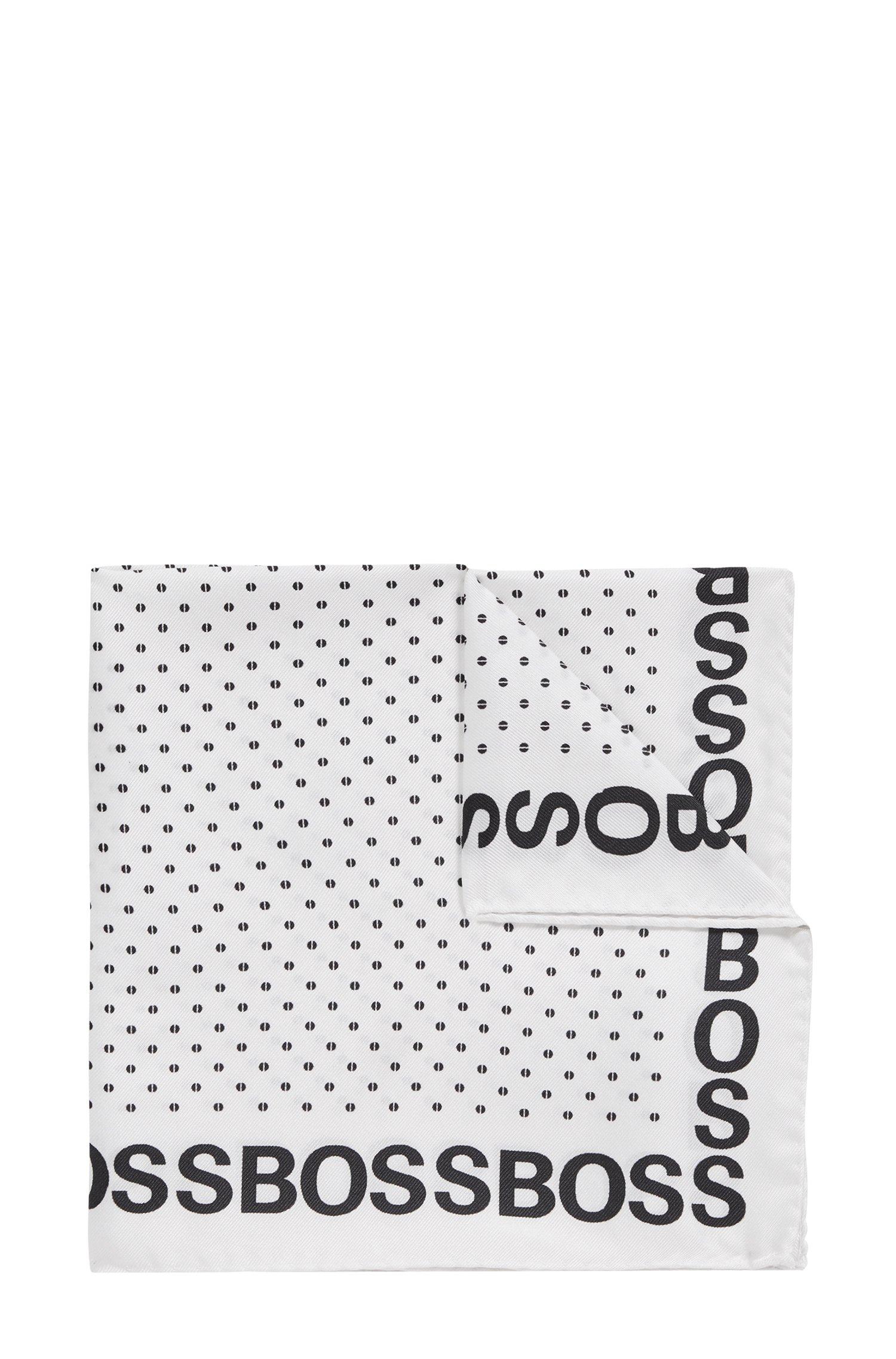 Pochet van zuivere zijde met logorand en print, Wit met dessin