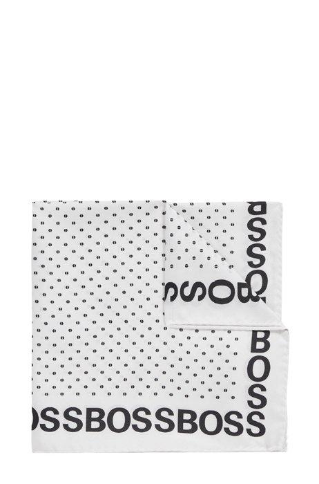 Pochette stampata in pura seta con bordo con logo, Bianco a motivi