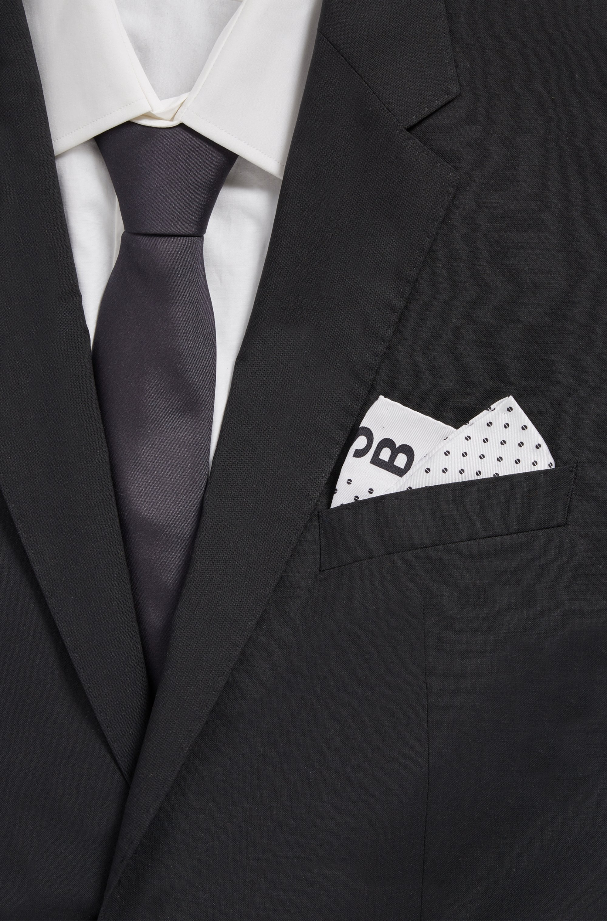 Printed pocket square in pure silk with logo border
