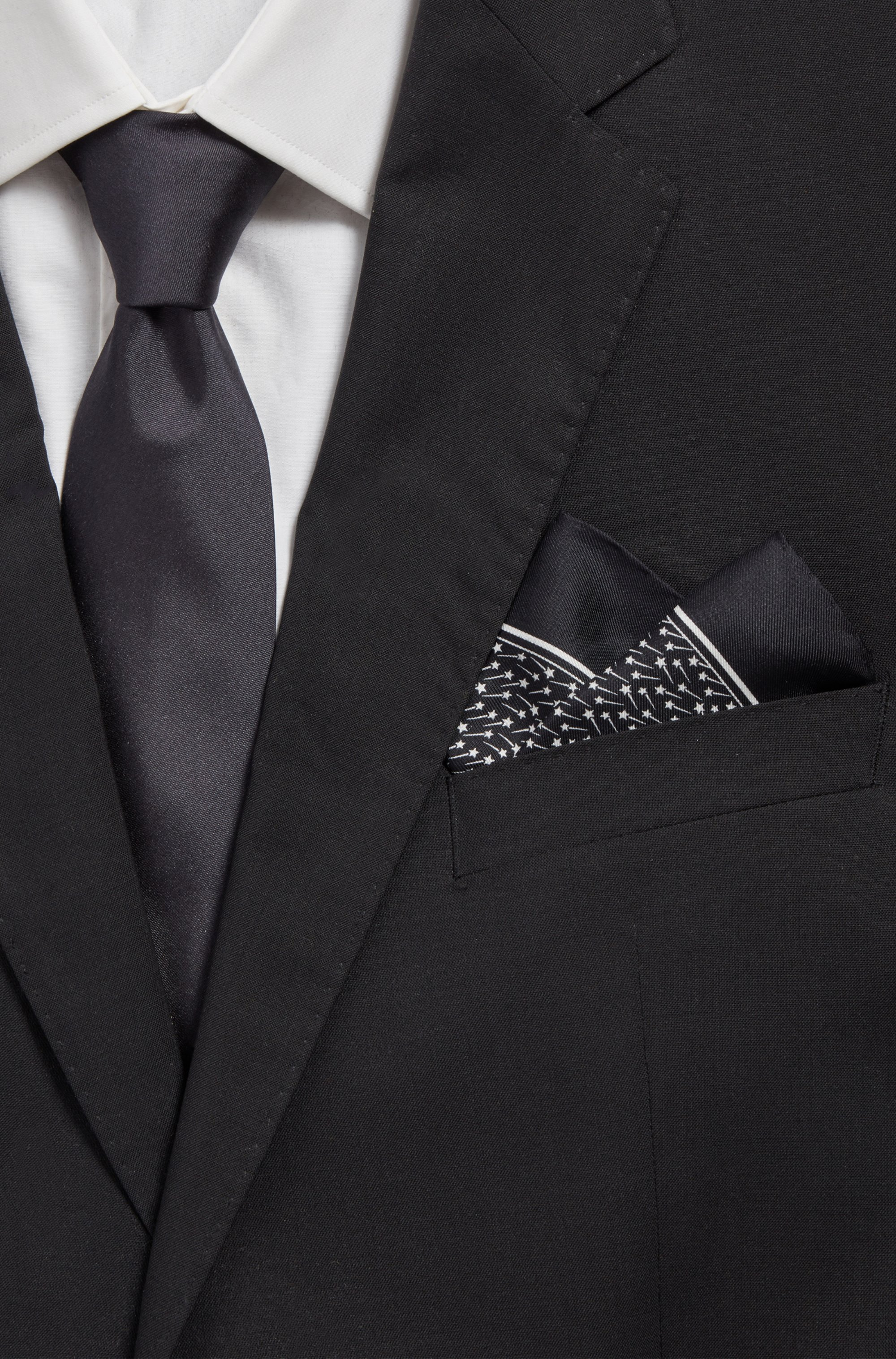 Italian-made pocket square in silk with micro print