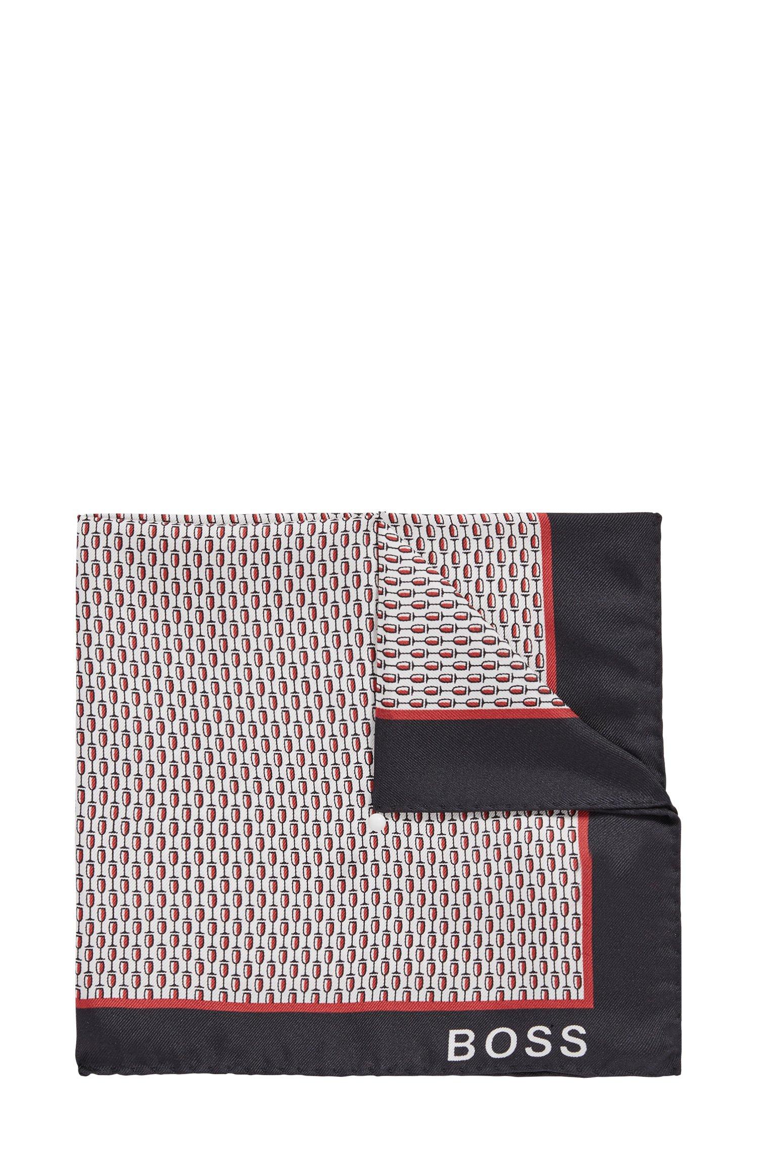 In Italië vervaardigde pochet van zijde met microprint, Rood met dessin