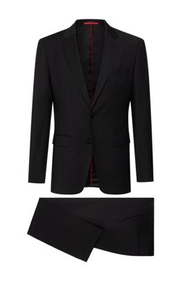 Regular-fit suit in a stretch-virgin-wool blend, Black