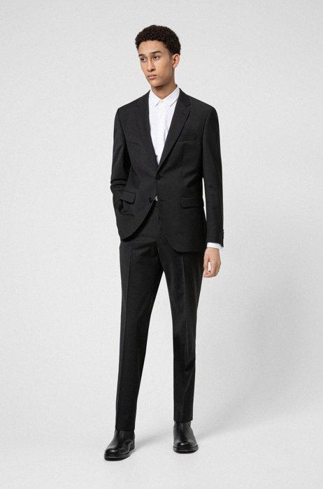 Costume Regular Fit en laine vierge mélangée stretch, Noir