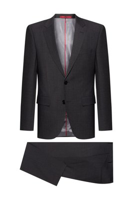 Regular-fit suit in a stretch-virgin-wool blend, Dark Grey