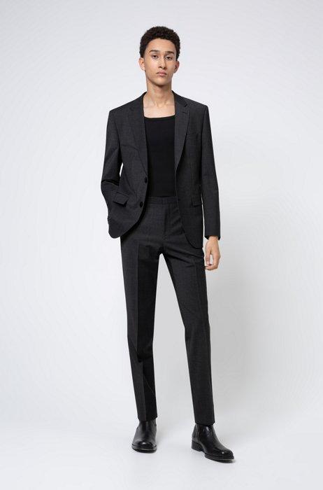 Regular-Fit Anzug aus elastischem Schurwoll-Mix, Dunkelgrau