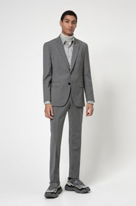 Regular-fit suit in a stretch-virgin-wool blend, Grey
