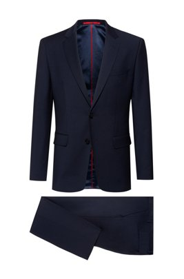 Regular-fit suit in a stretch-virgin-wool blend, Dark Blue