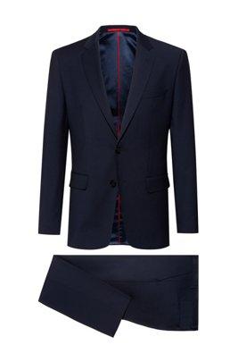 Regular-fit pak van een scheerwolmix met stretch, Donkerblauw