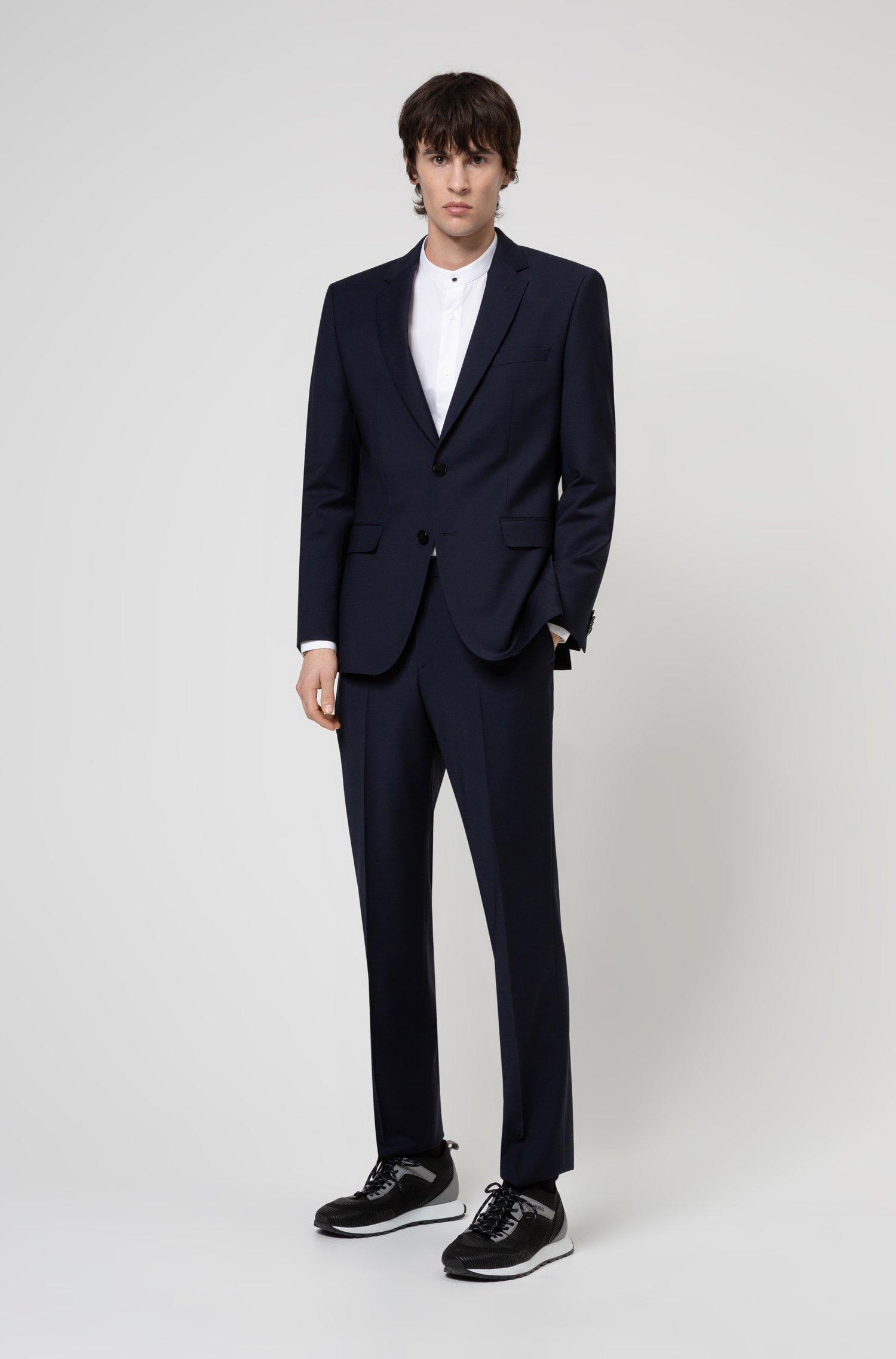 Regular-fit suit in a stretch-virgin-wool blend, Dark Blue