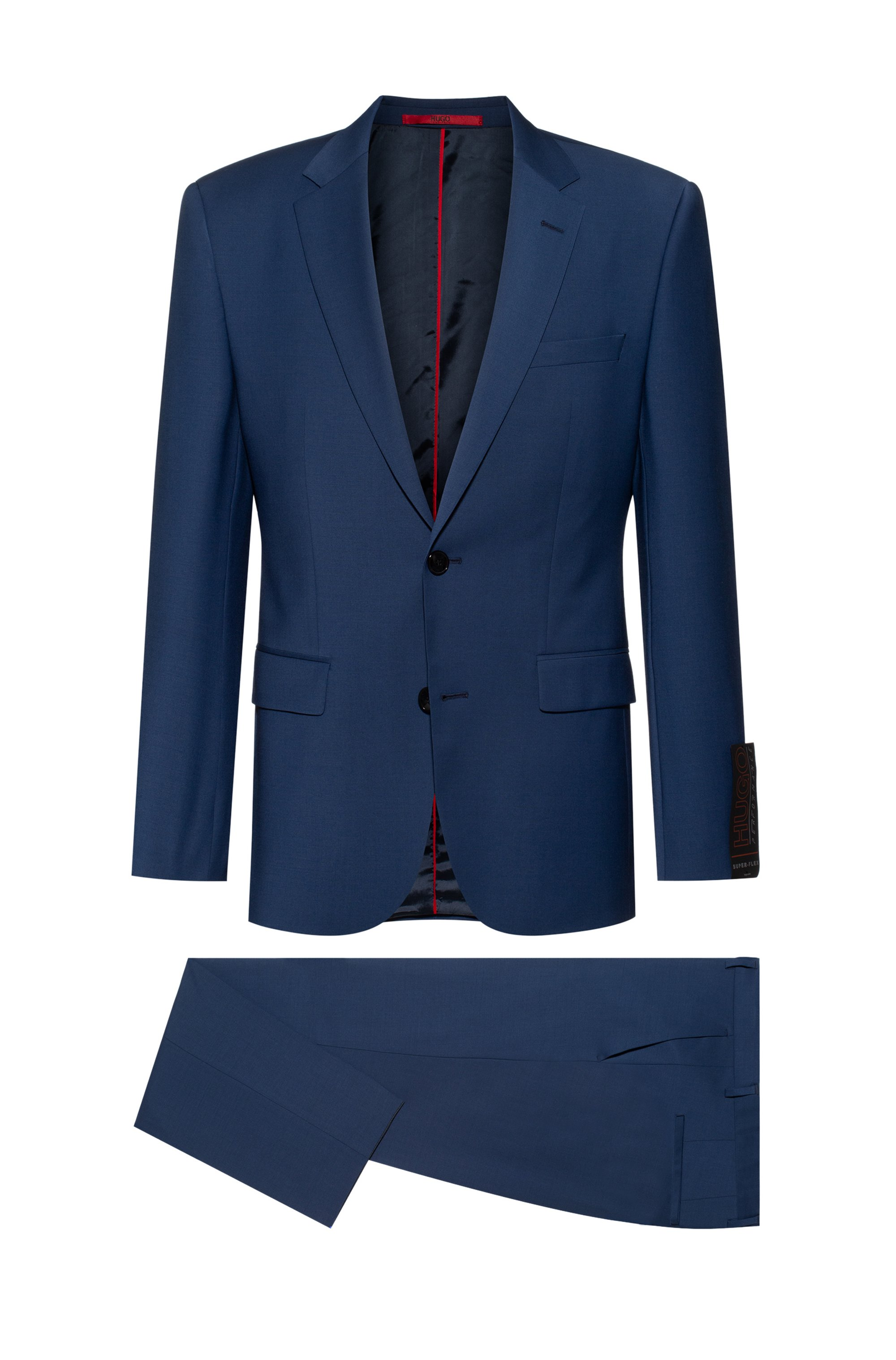 Regular-fit suit in a stretch-virgin-wool blend, Light Blue