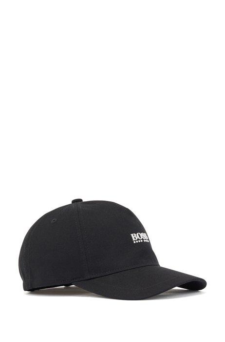 Cotton-twill cap with high-definition logo print, Black