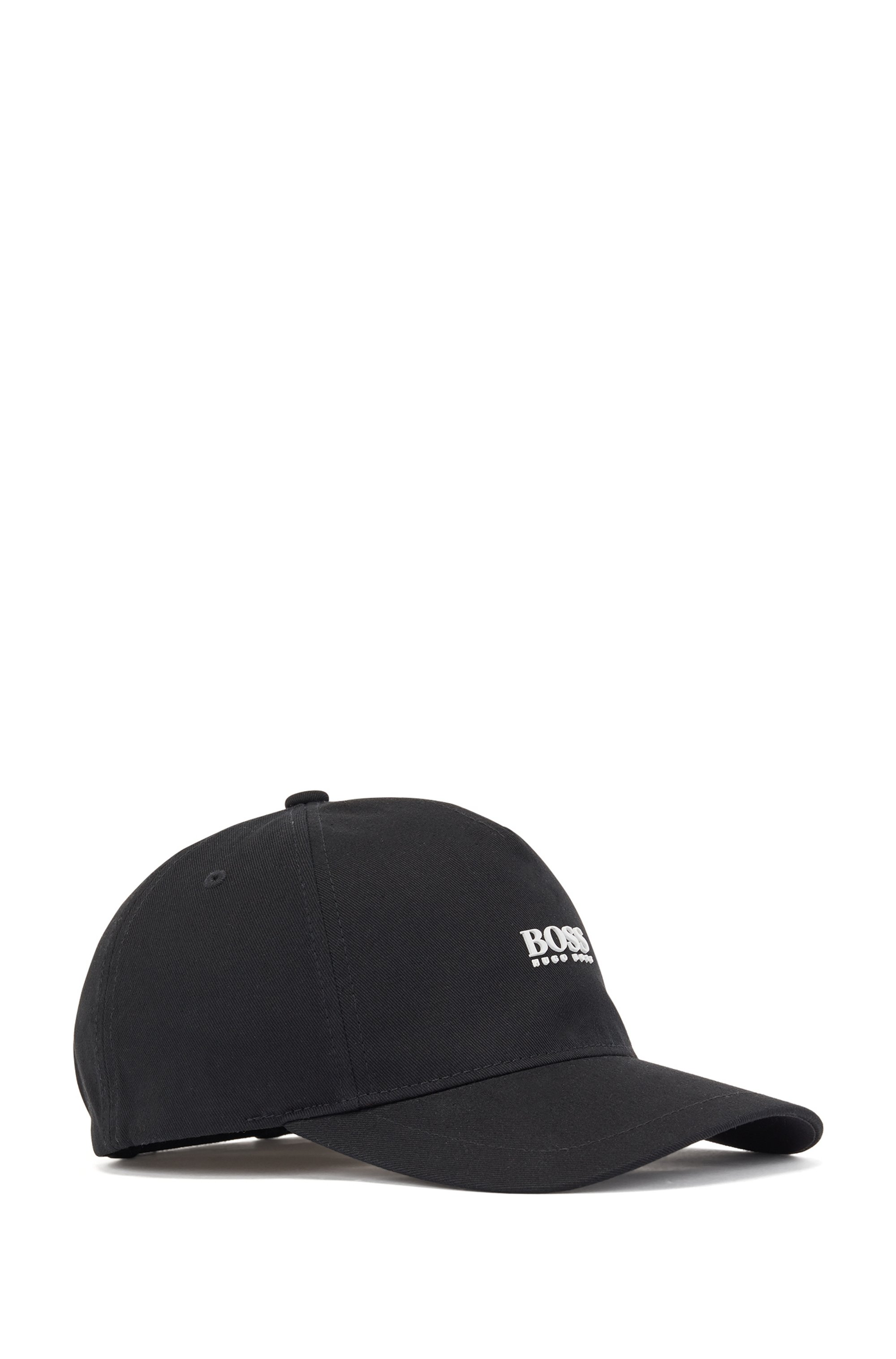 Cotton-twill cap with high-definition logo print, Black