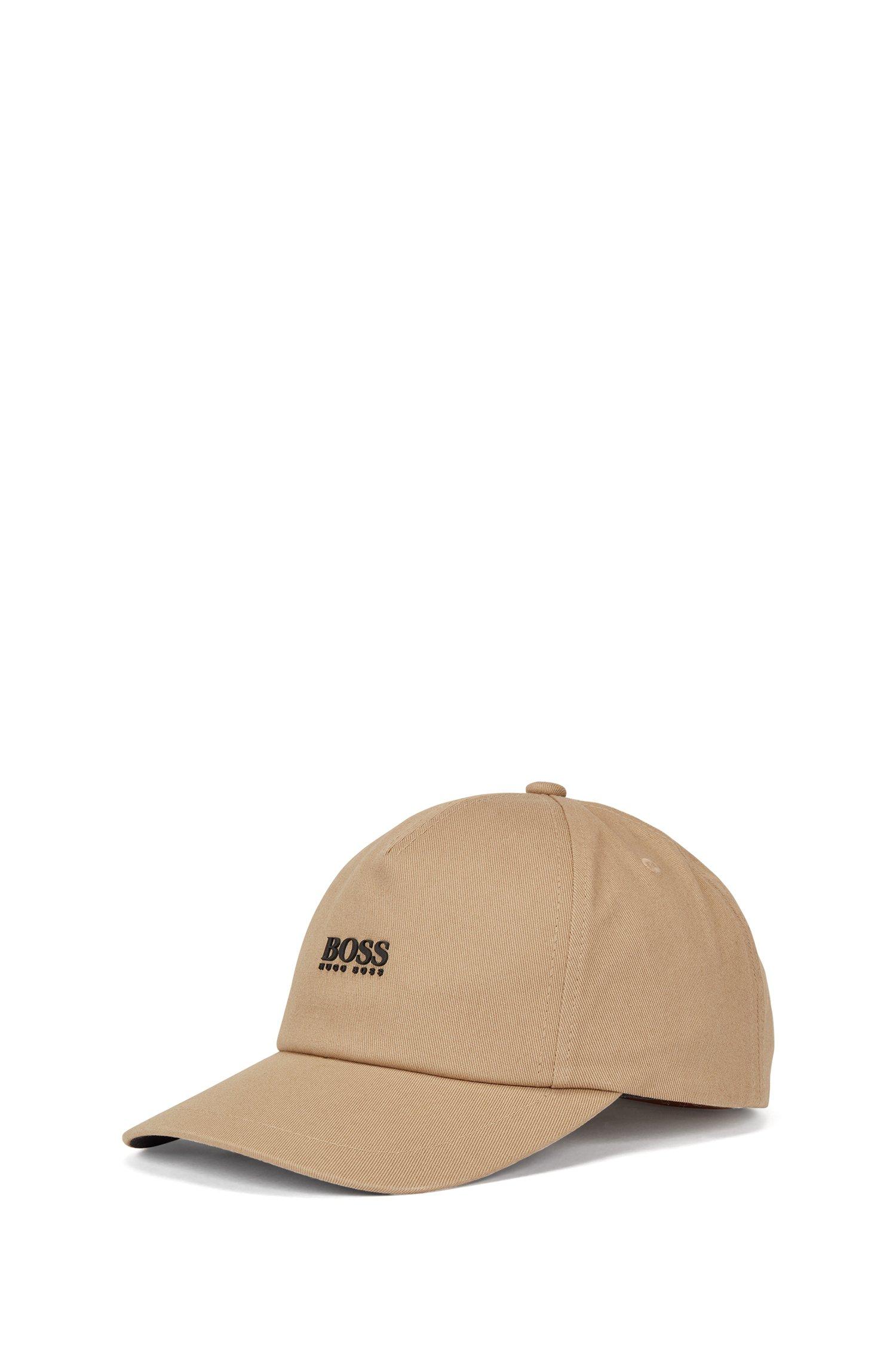 Cotton-twill cap with high-definition logo print, Beige