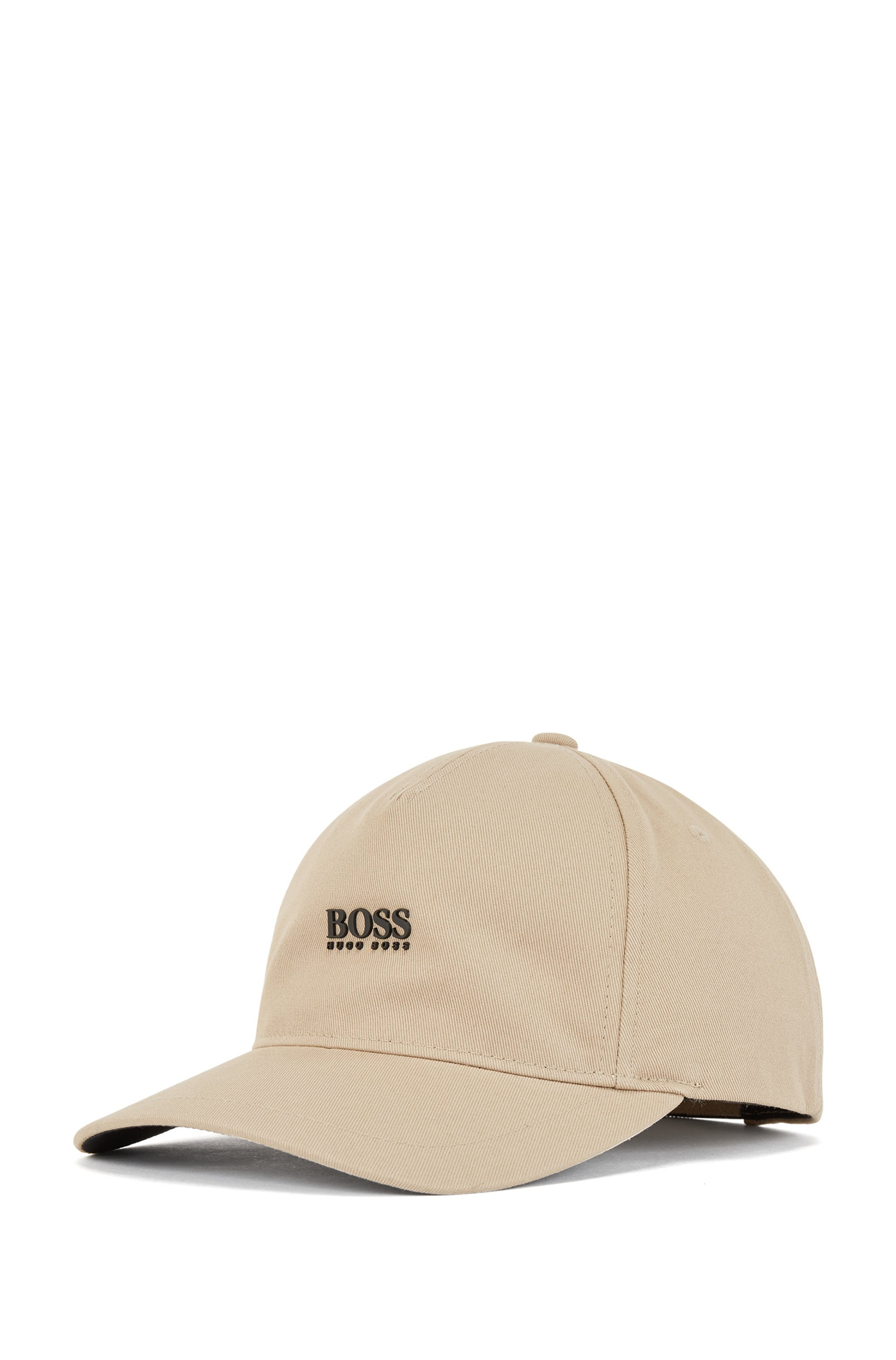 Cotton-twill cap with high-definition logo print, Beige