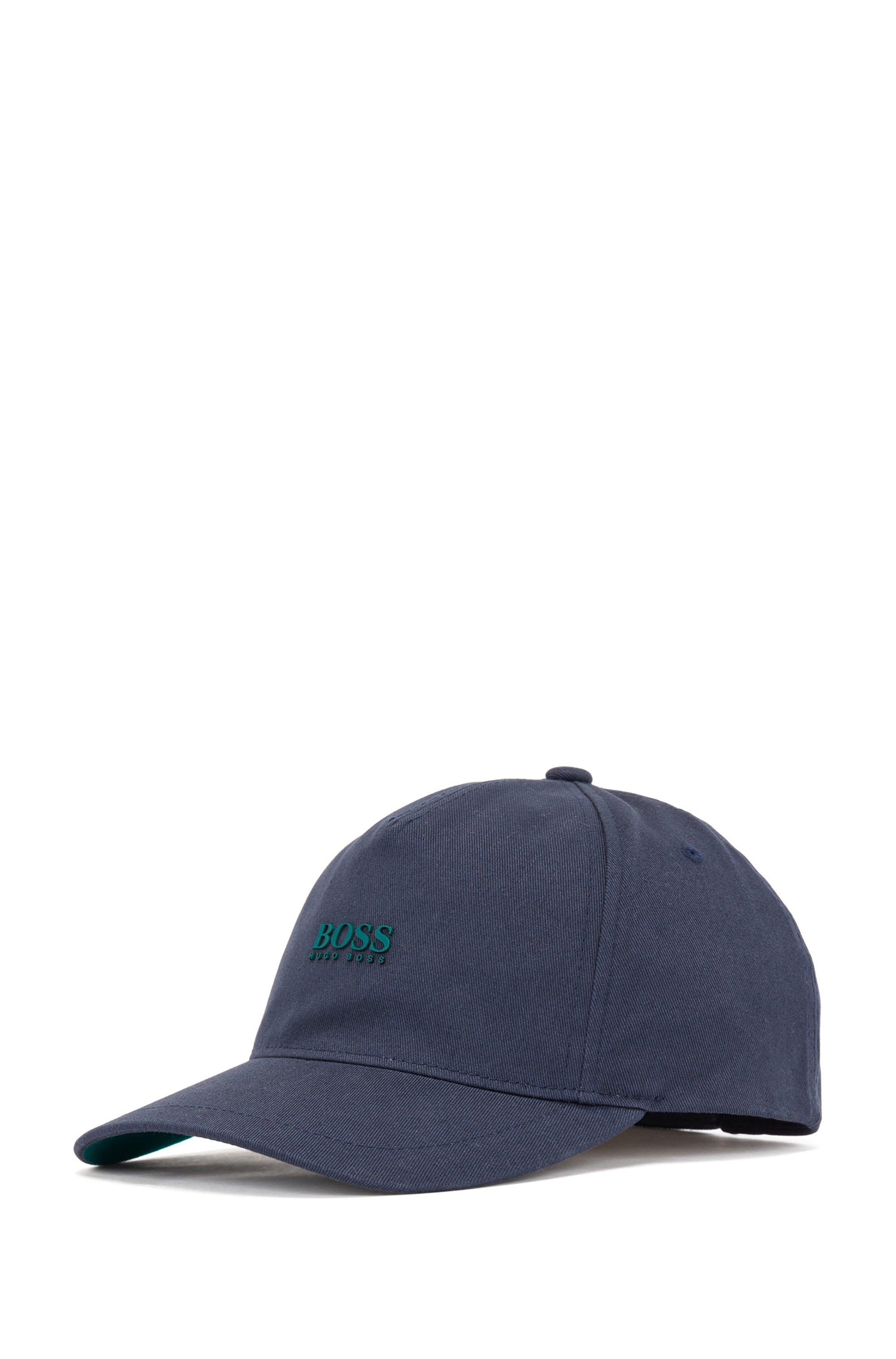 Cap aus Baumwoll-Twill mit erhabenem Logo-Print, Dunkelblau