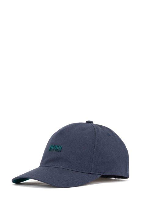 Casquette en twill de coton à logo imprimé haute définition, Bleu foncé