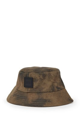 Cotton bucket hat with seasonal print, Khaki