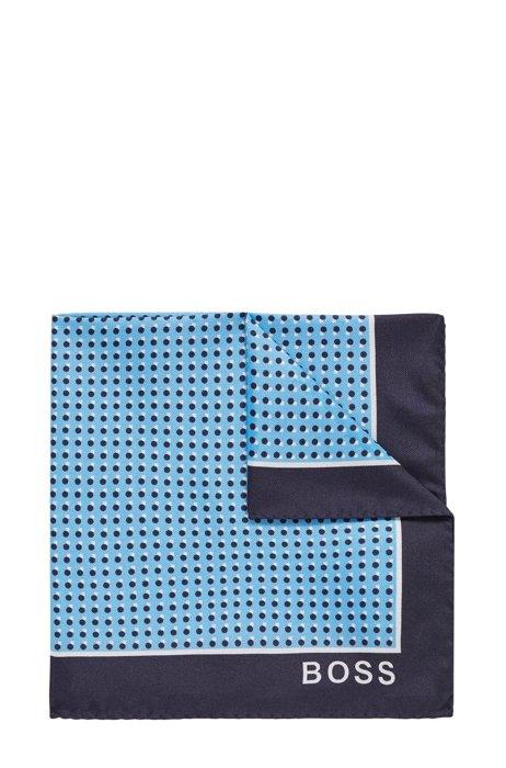 In Italië vervaardigde pochet van zijde met geometrische print, Blauw met dessin