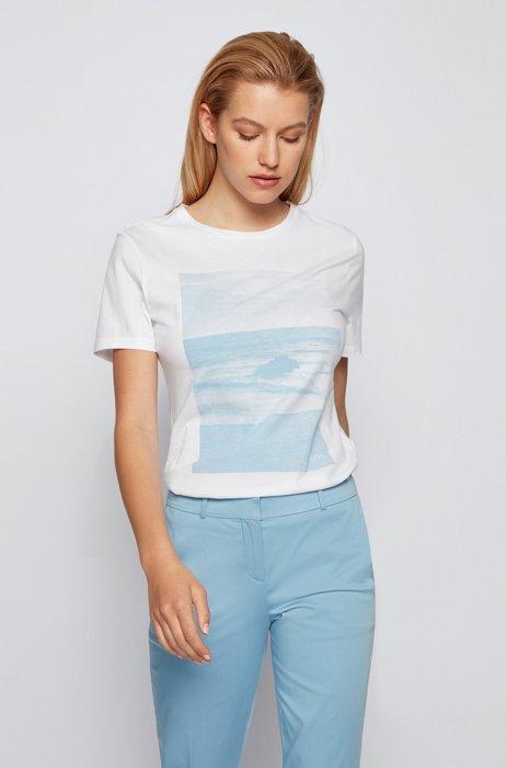 T-shirt en coton biologique à imprimé motif littoral, Blanc
