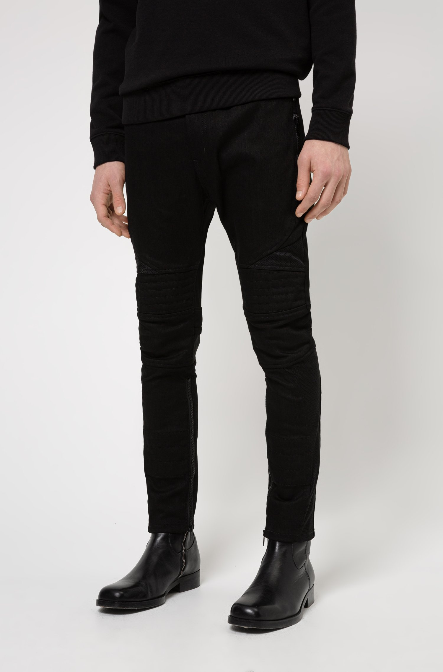 Extra-slim-fit black jeans with mesh and stitching, Black