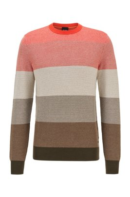 Regular-fit sweater in cotton with degradé stripes, Red Patterned