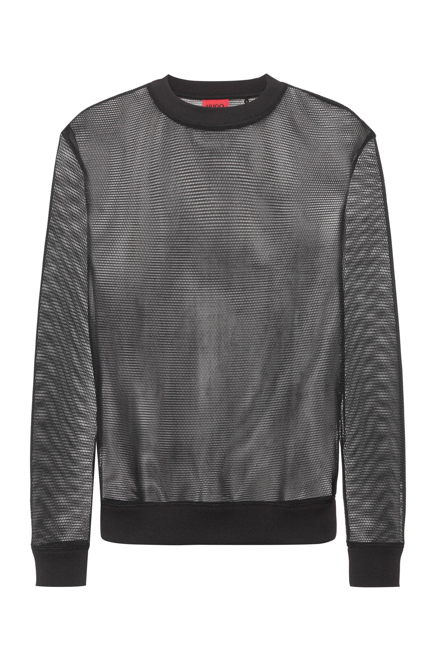 Regular-fit sweatshirt in transparent mesh, Black