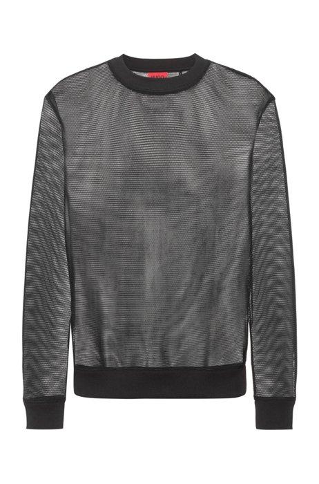 Regular-fit sweater van transparant mesh, Zwart