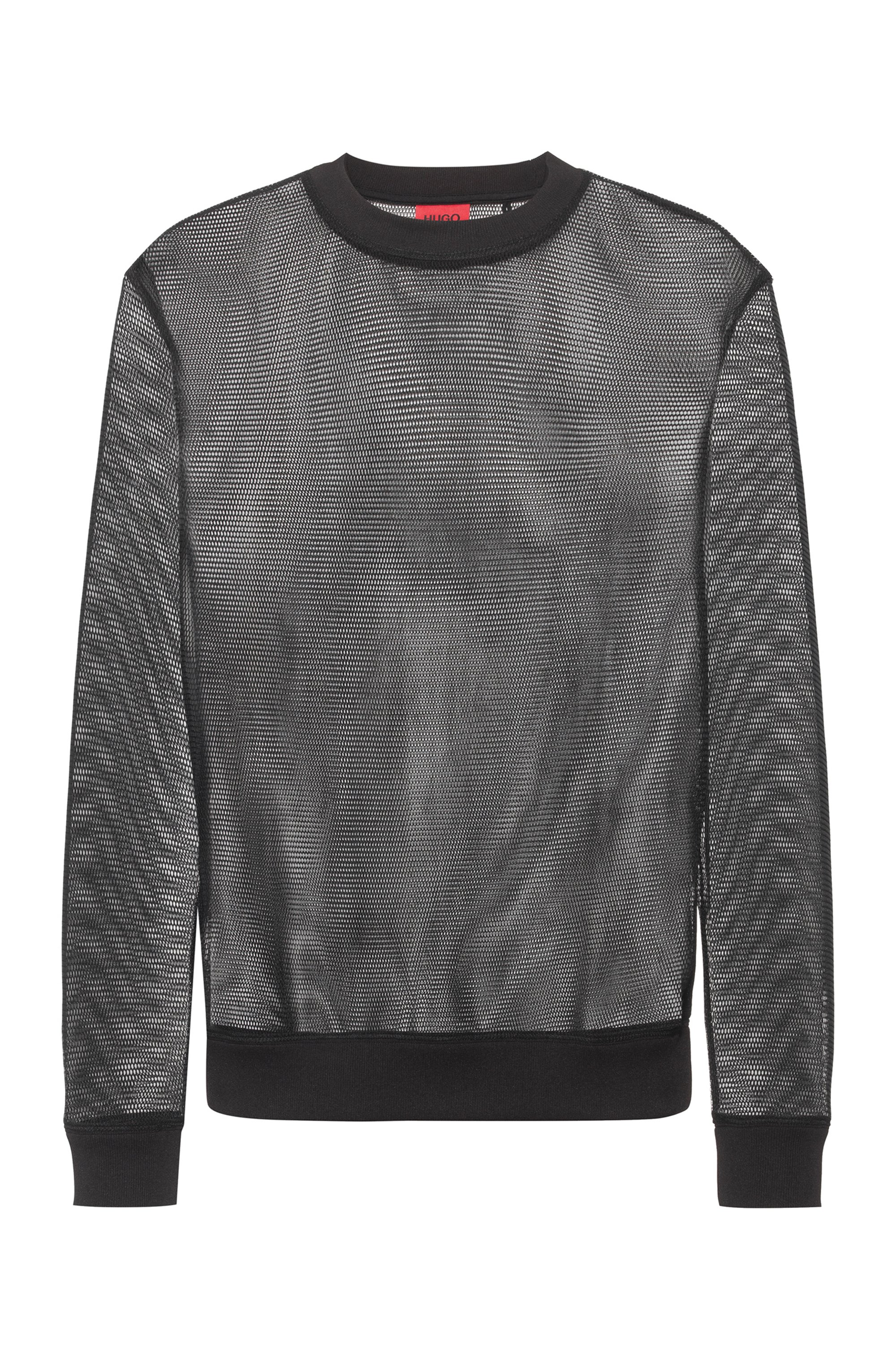 Regular-fit sweatshirt in transparent mesh, Black