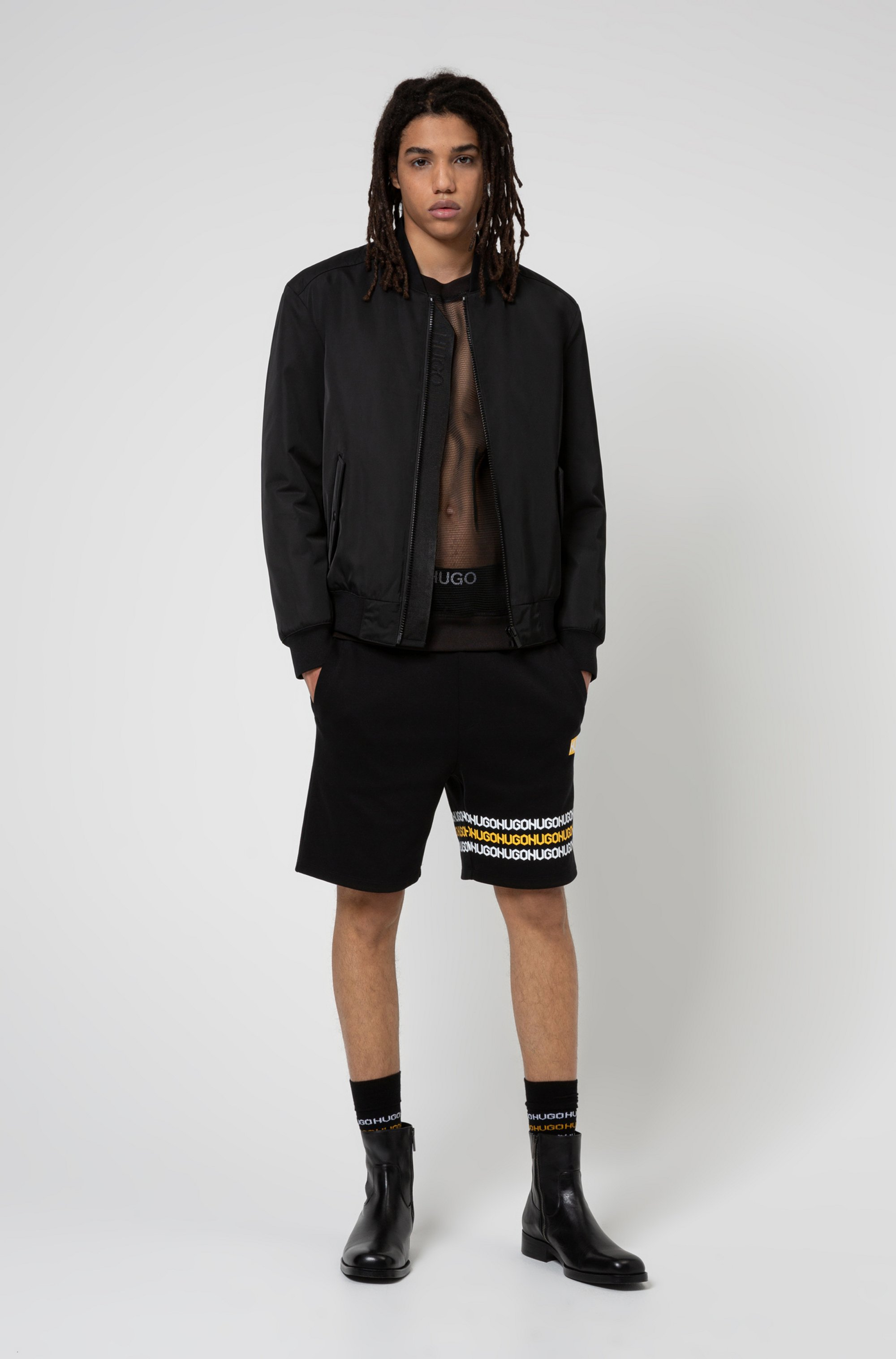 Regular-fit sweatshirt in transparent mesh