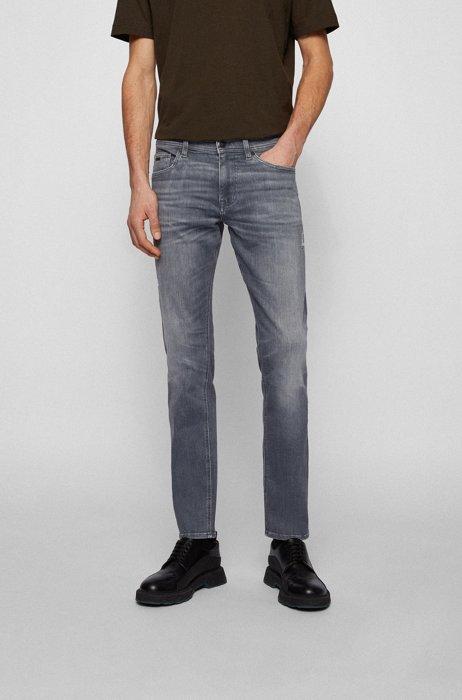 Slim-fit jeans in grey Italian super-stretch denim, Grey